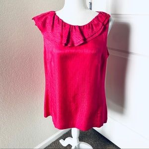 Trina Turk Silk Asymmetrical Ruffled Neck Blouse